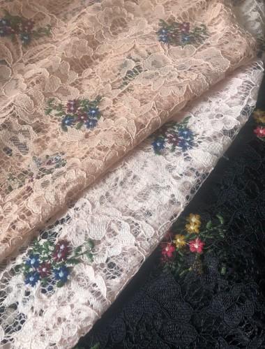 KORONKA HAFTOWANA PRINT FLOWERS